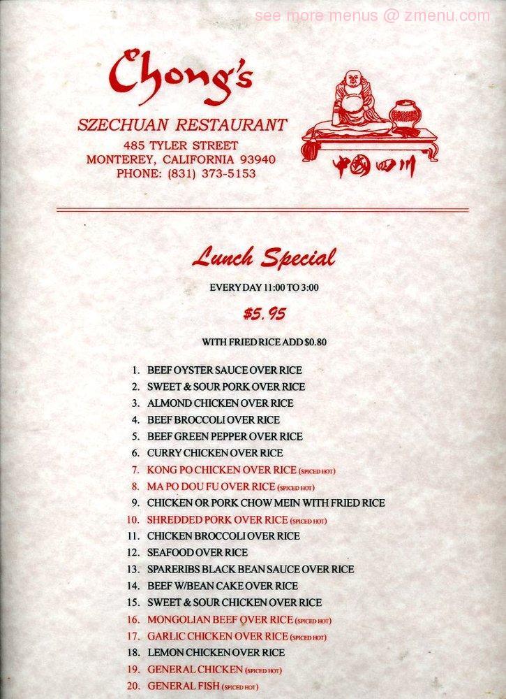 Online menu of chong 39 s szechwan restaurant restaurant for Alvarado fish and steak house