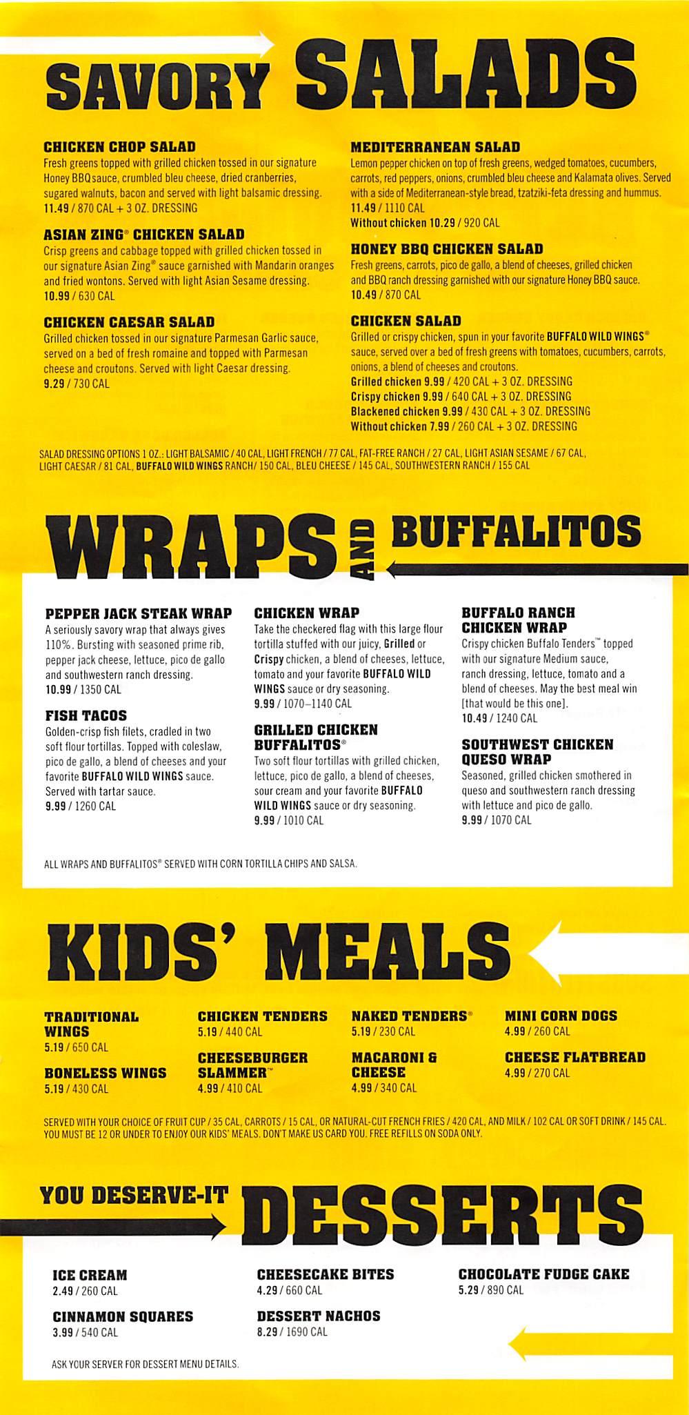 Online Menu of Buffalo Wild Wings Restaurant, Union City ...