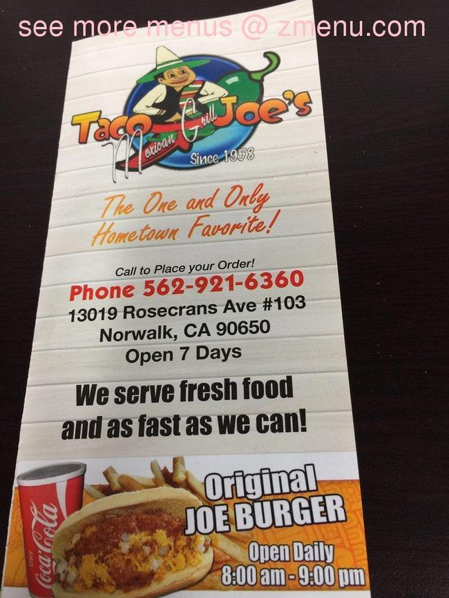 Online Menu Of Taco Joe Mexican Grill Restaurant Norwalk