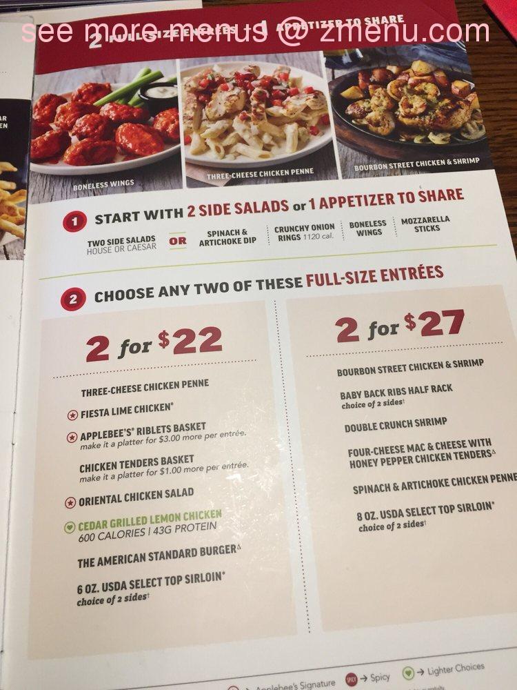 Online Menu Of Applebees Grill Bar Restaurant Vallejo