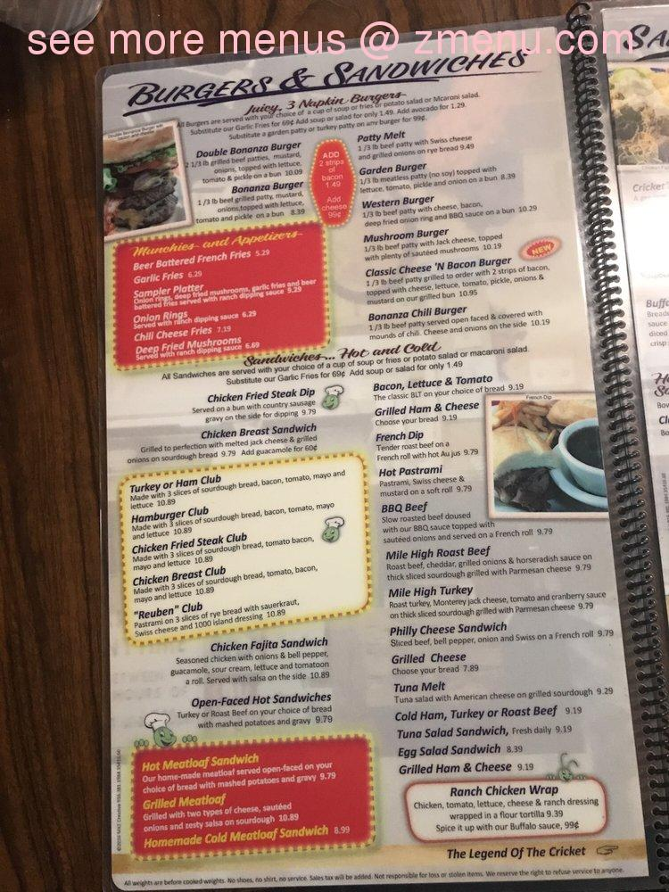 Cricket Country Kitchen Menu