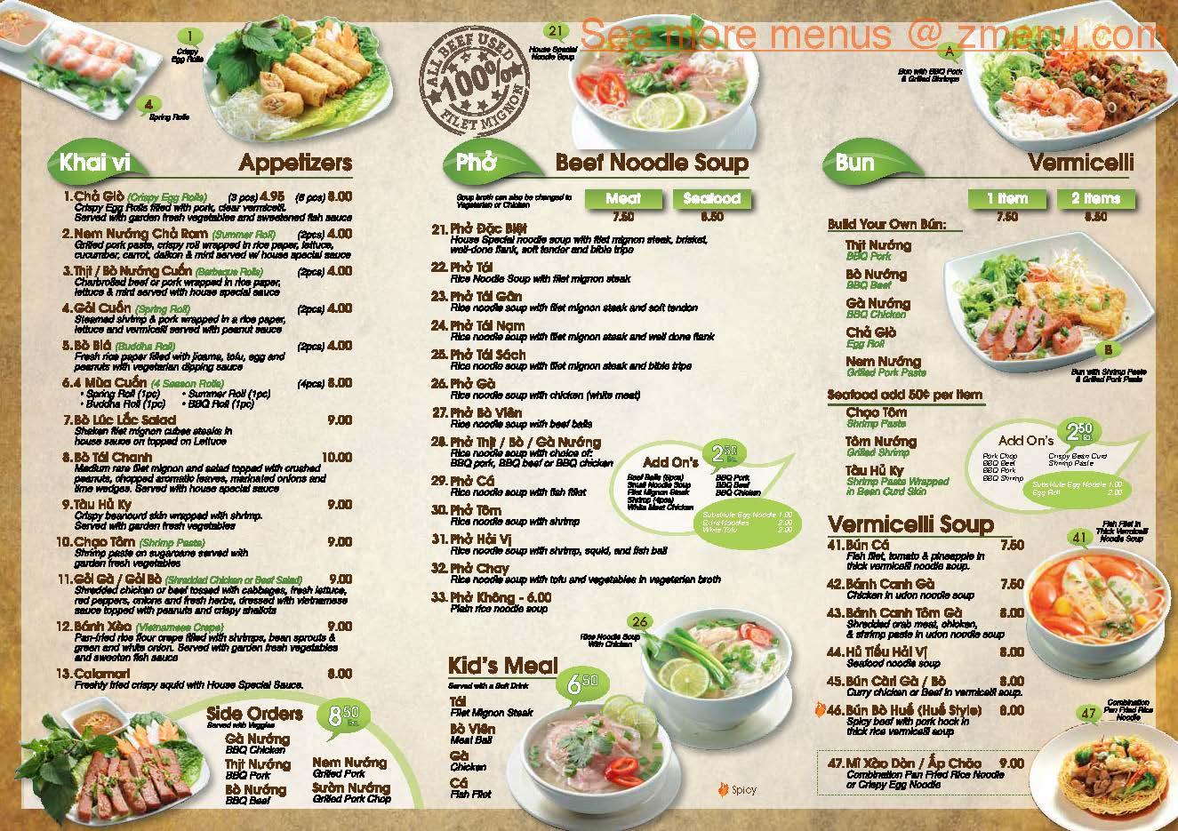 Pho Ha Vietnamese Restaurant Menu