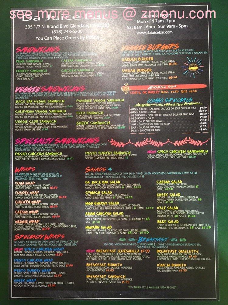 Online Menu Of Da Juice Bar Restaurant Glendale