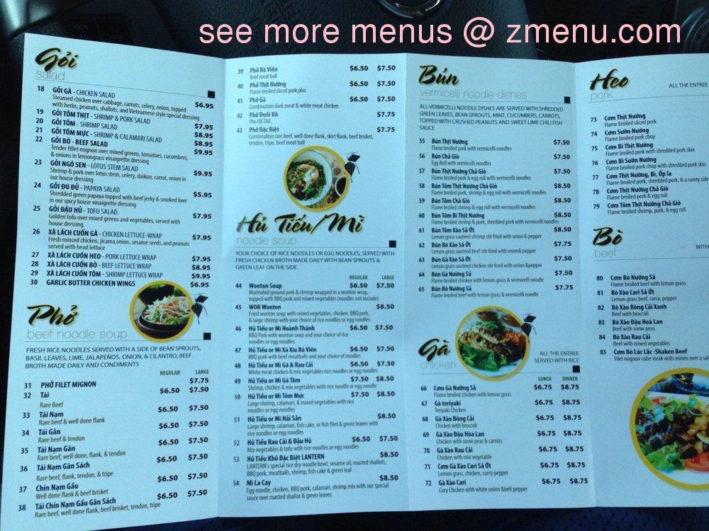 Pho Lantern Cafe Menu