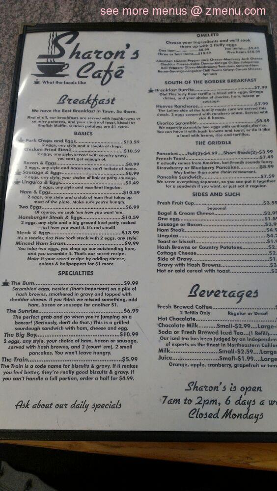 Online Menu Of Sharons Cafe Restaurant Portola