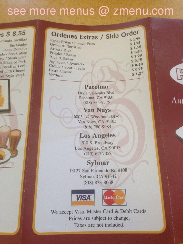 Online Menu of El Huarache Veloz Restaurant, Van Nuys ...