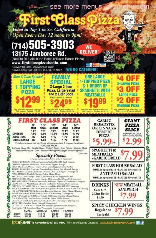 Online Menu Of First Class Pizza Restaurant Tustin