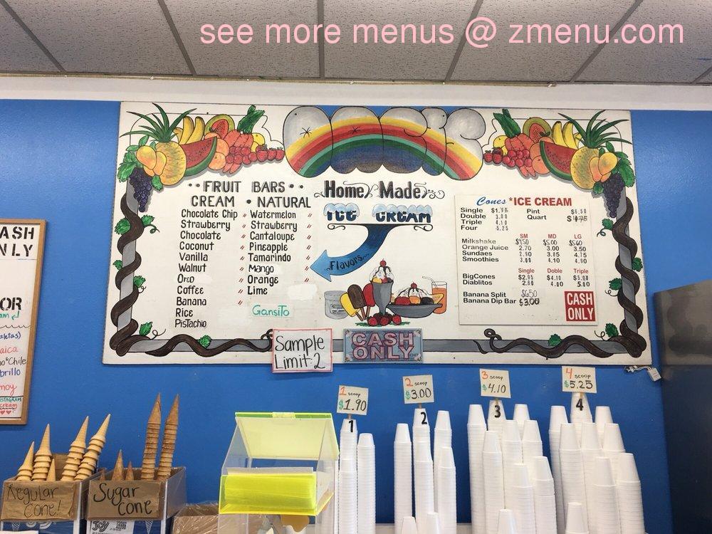 Online Menu Of Oasis Ice Cream Parlor Restaurant Imperial Beach