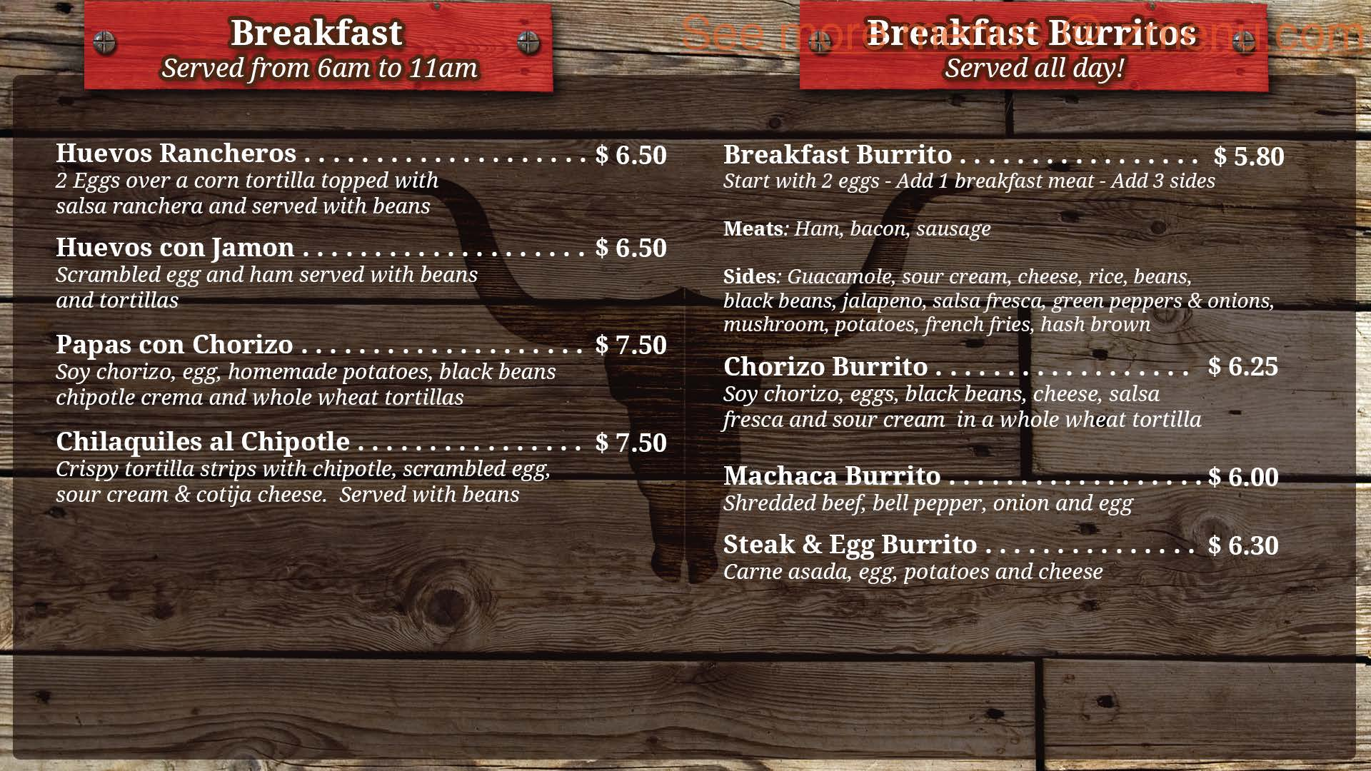 Matador Mexican Restaurant Menu