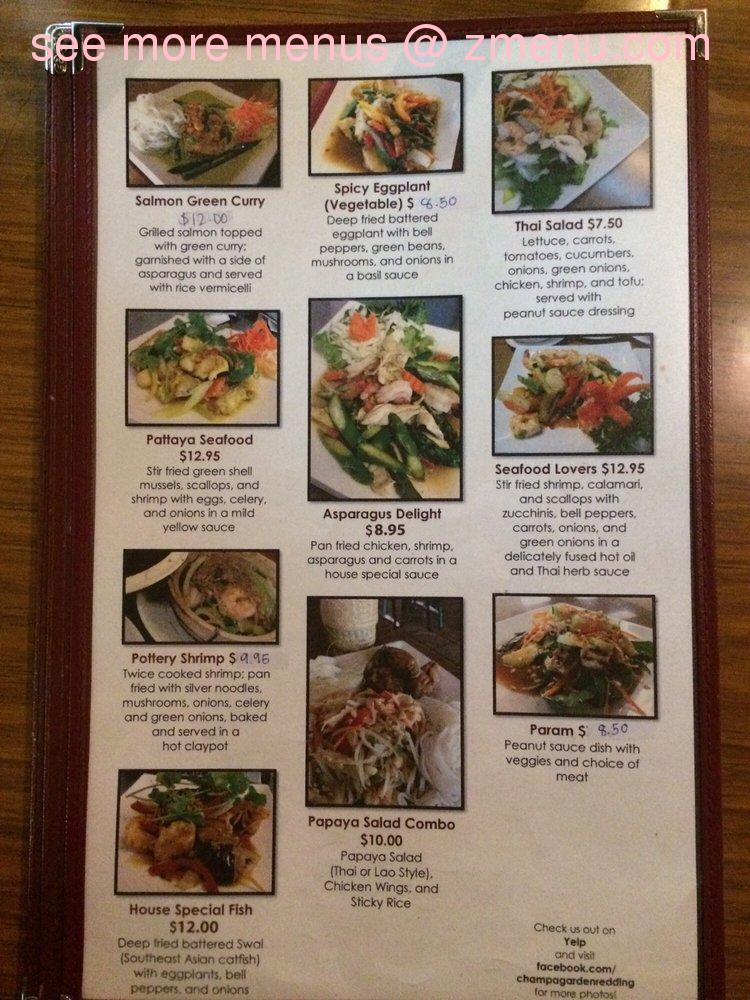Online Menu Of Champa Garden Restaurant Redding