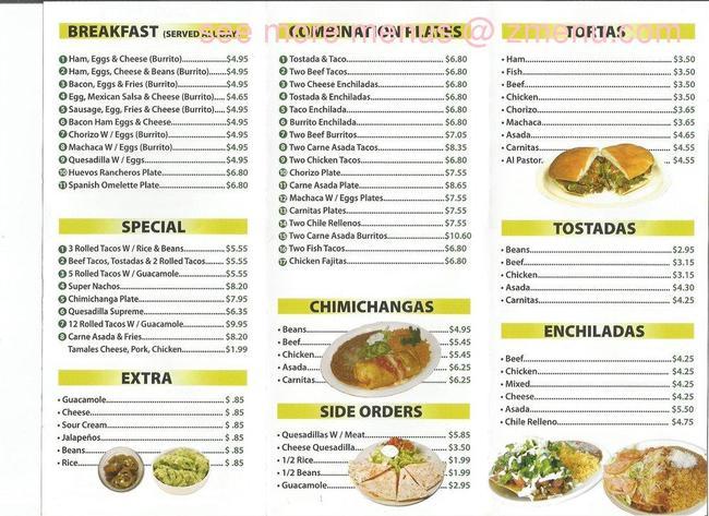 Los Alazanes Mexican Food Menu
