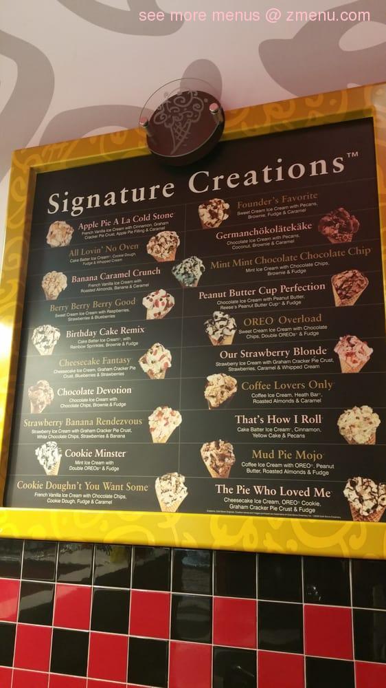 Online Menu Of Cold Stone Creamery Restaurant Merced California