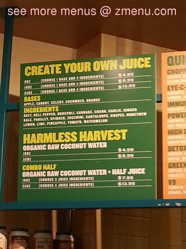 Online menu of whole foods jamboree juice bar restaurant for Whole food juice bar menu