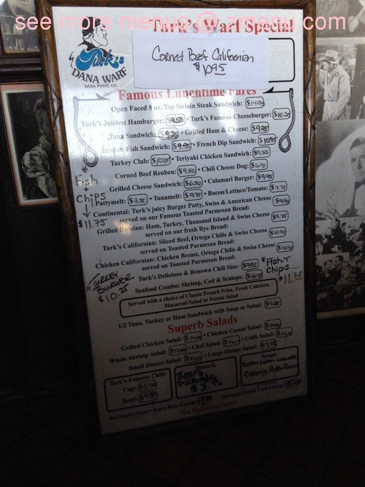 Online Menu of Turks Restaurant Restaurant, Dana Point, California