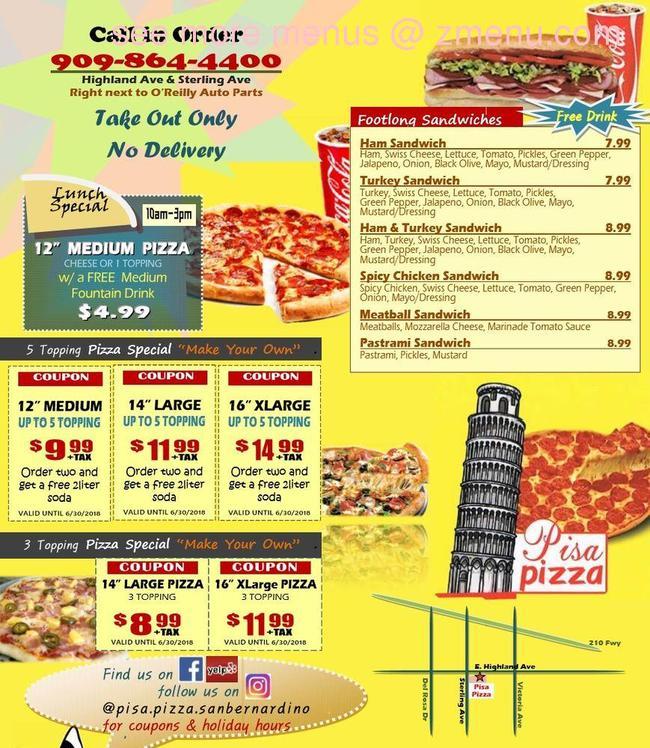 Online Menu Of Pisa Pizza Restaurant, San Bernardino