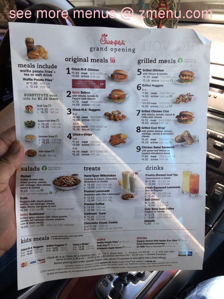 photo regarding Chick Fil a Menu Printable called On-line Menu of Chick-fil-A Cafe, Fresno, California