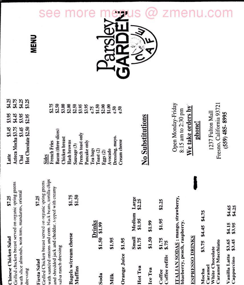 Parsley Garden Cafe Menu Fresno