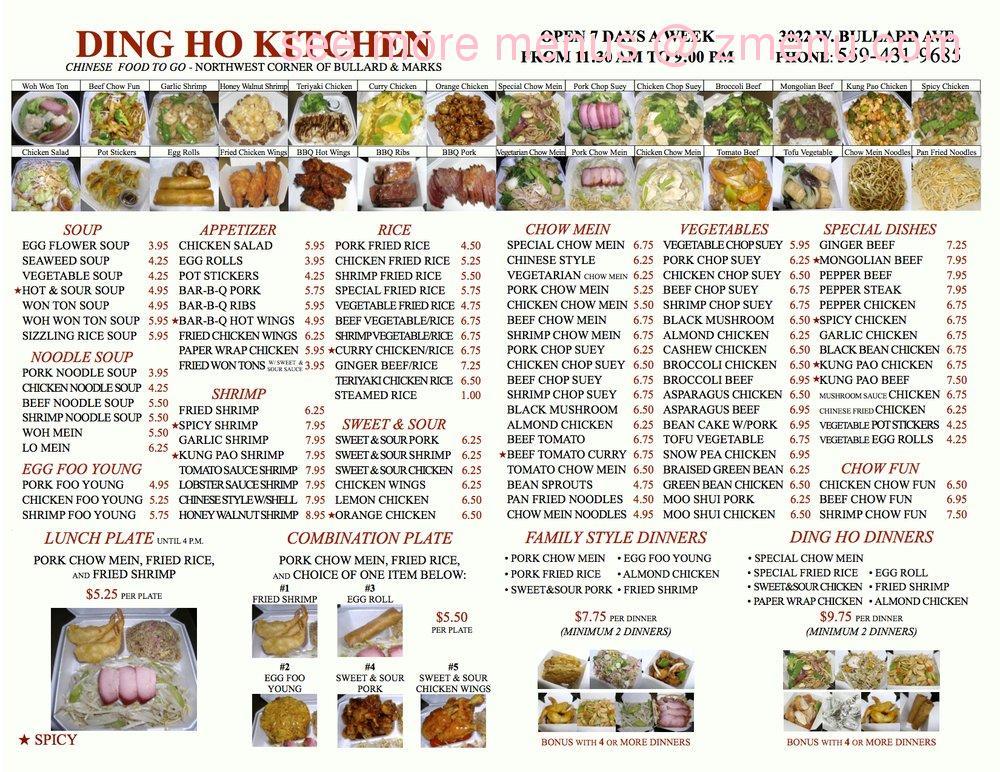 Ding Ho Kitchen Chinese Food Fresno Ca Menu
