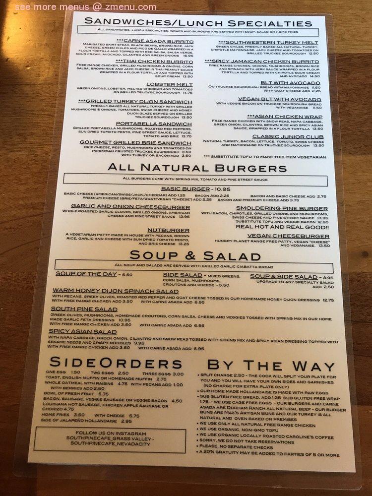 Online Menu of South Pine Cafe - Grass Valley Restaurant ...
