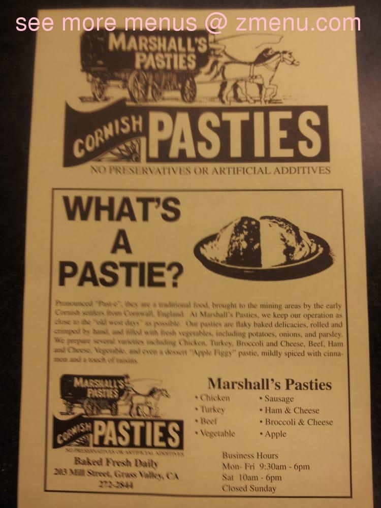 Online Menu of Marshalls Pasties Restaurant, Grass Valley