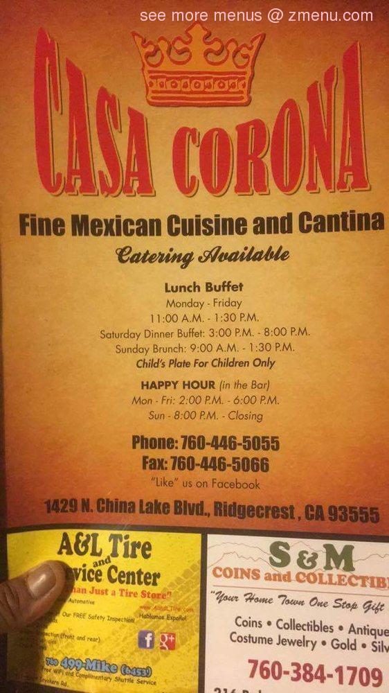 Gas Prices In California >> Online Menu of Casa Corona Restaurant, Ridgecrest ...