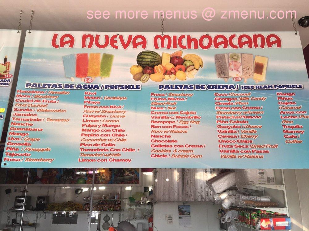 Online Menu Of Paleteria Y Neveria La Nueva Michoacana Restaurant