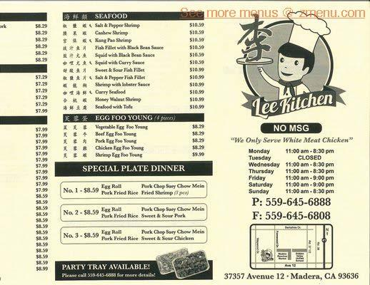 Online Menu of Lee Kitchen Restaurant, Madera, California, 93636 - Zmenu