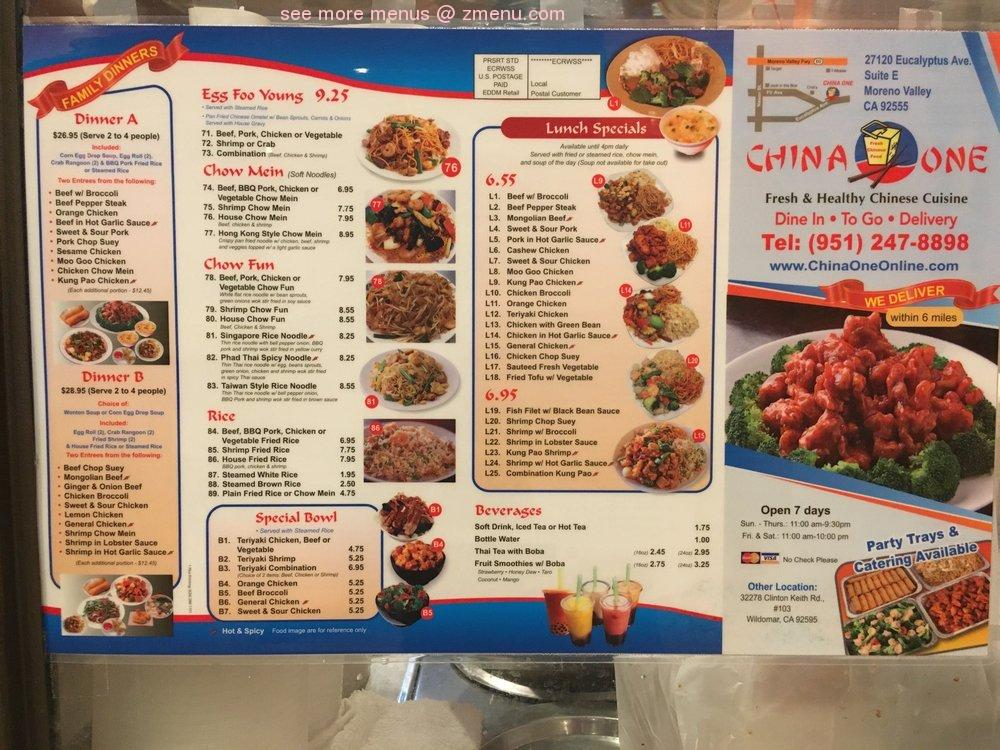 Online Menu Of China One Restaurant Moreno Valley California 92555 Zmenu
