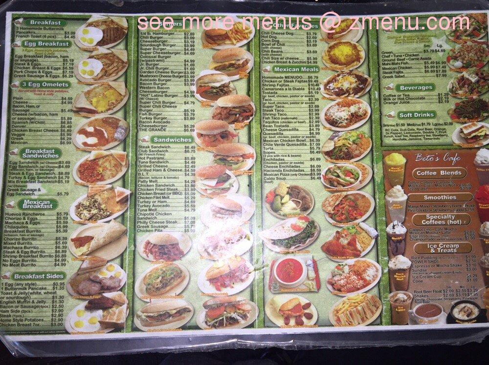 California Mexican Food Menu