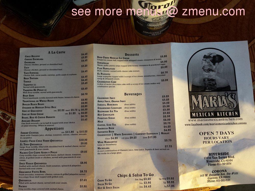 Online menu of maria 39 s mexican kitchen restaurant for Maria s italian kitchen menu