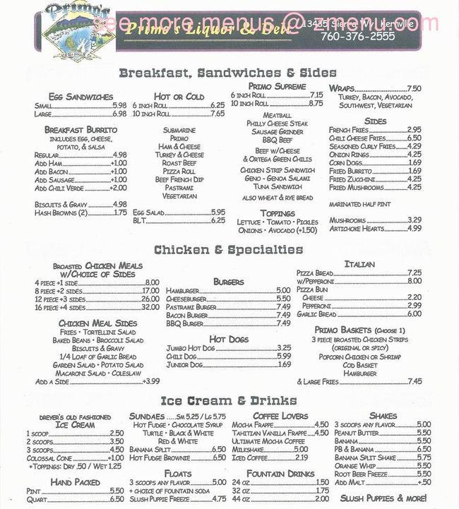 Online Menu Of Primos Liquor Amp Deli Restaurant Kernville