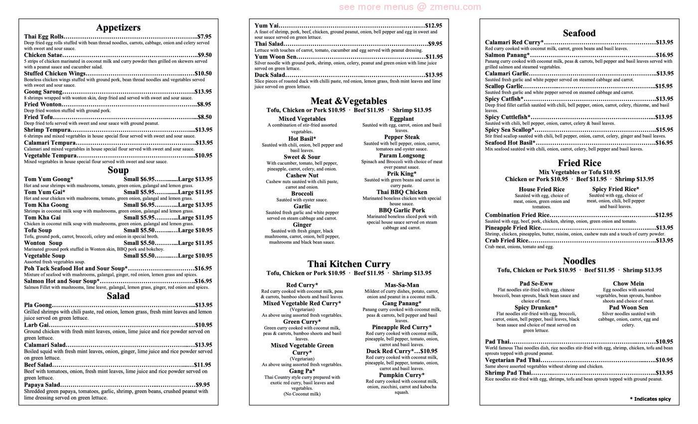 Online Menu Of Thai Kitchen Restaurant American Canyon California 94503 Zmenu