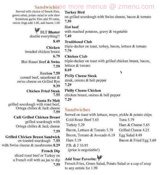 Bridgehead Cafe Menu