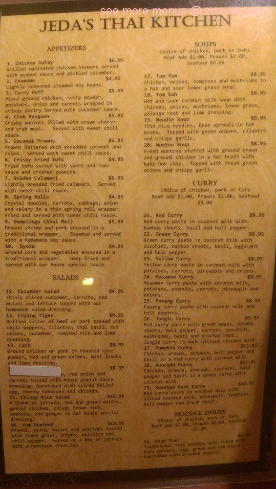 online menu of jeda's thai kitchen restaurant, oak harbor