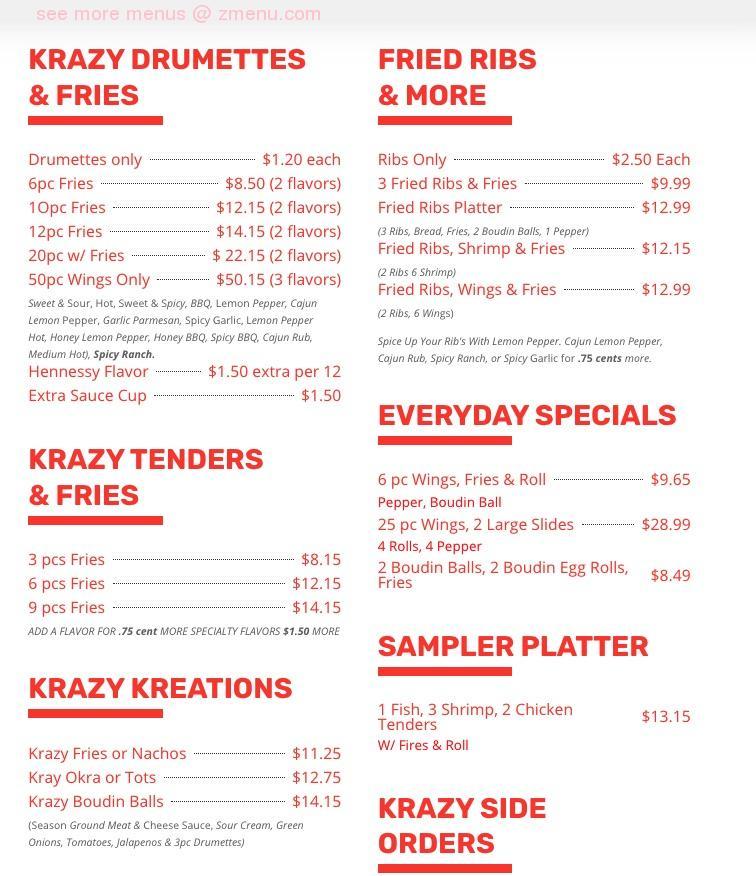 Online Menu Of 3ds Krazy Kitchen Restaurant Houston Texas 77016 Zmenu