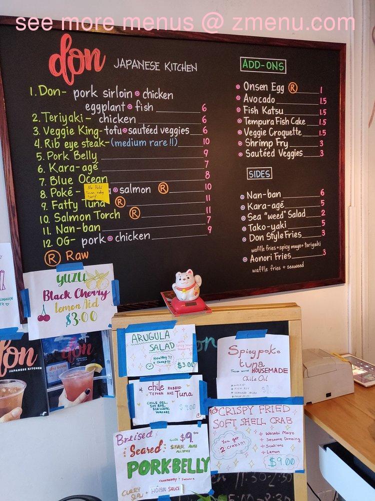Online Menu Of Don Japanese Kitchen Austin Restaurant Austin Texas 78705 Zmenu