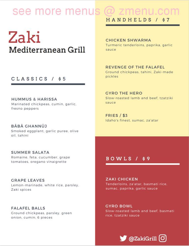 Online Menu Of Zaki Grill Restaurant Columbus Ohio 43201 Zmenu