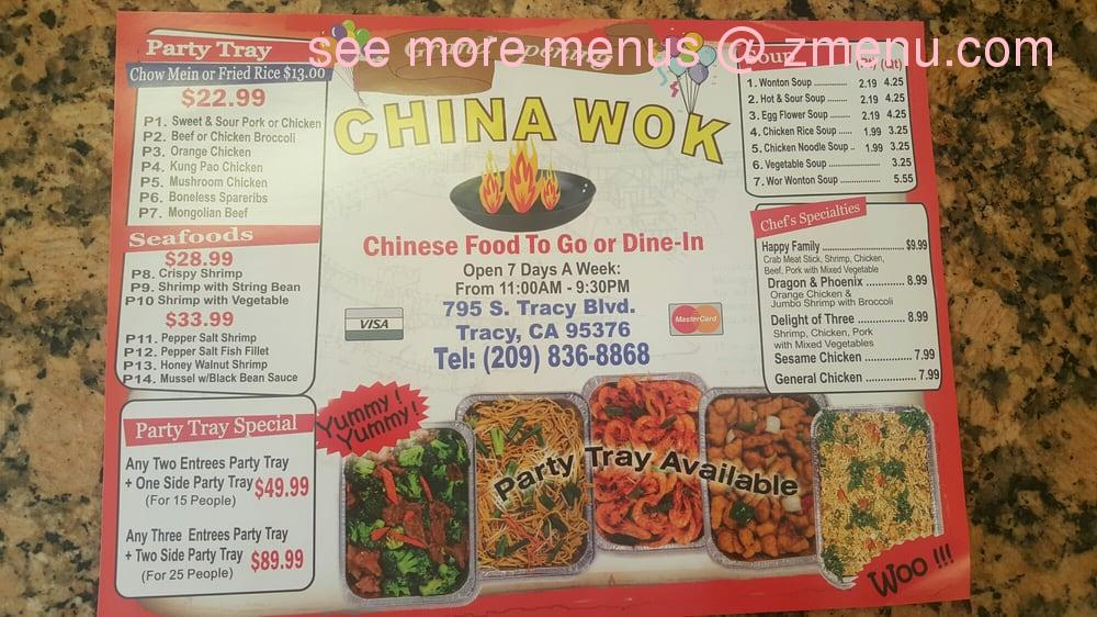 Online Menu of China Wok Restaurant, Tracy, California