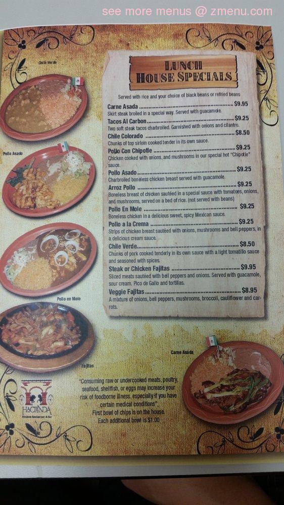 Online Menu Of Hacienda Mexican Restaurant And Bar Restaurant Delray Beach Florida 33484 Zmenu