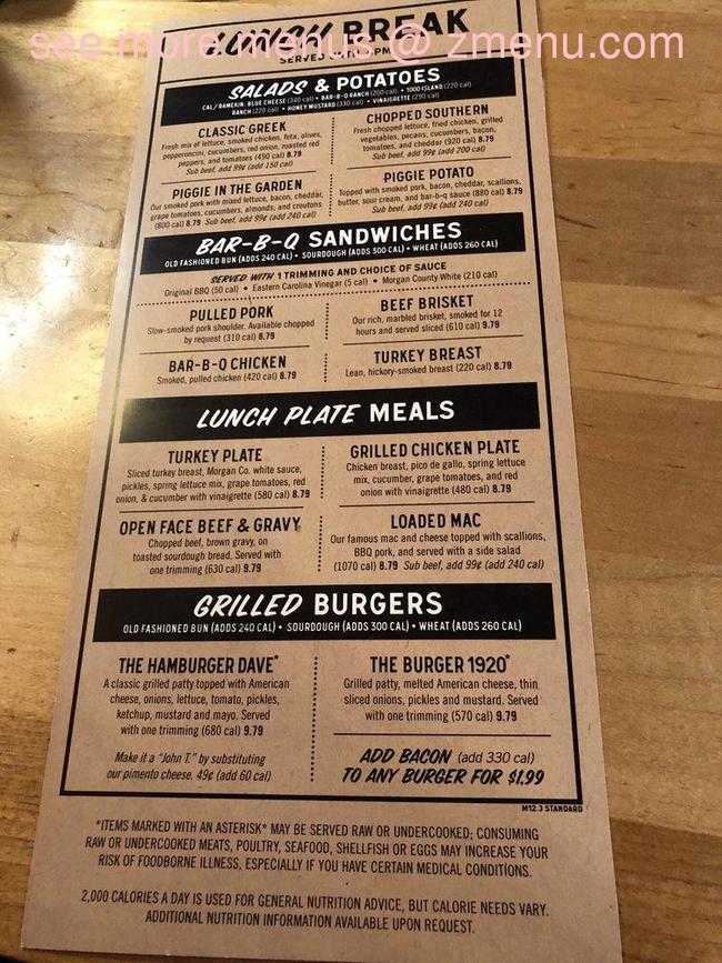 Menu of Jim N Nicks Bar-B-Q Restaurant