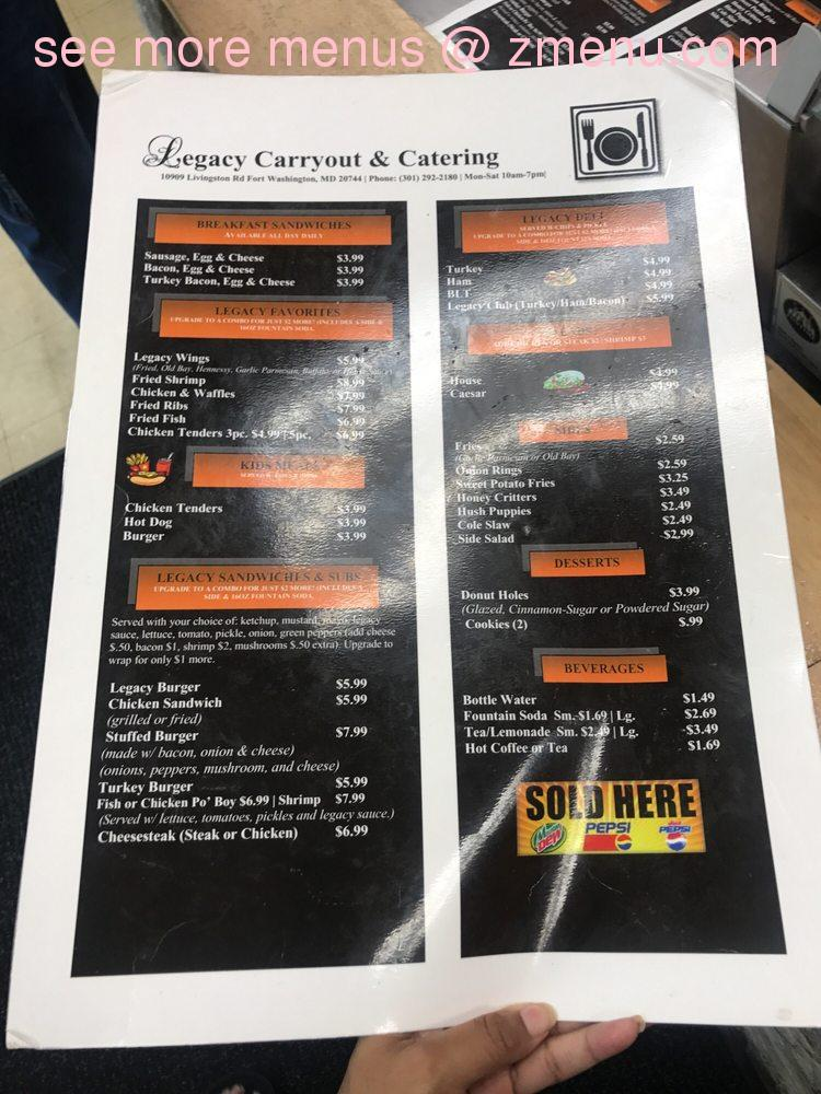 Online menu of legacy carryout catering restaurant fort for Carryout menu