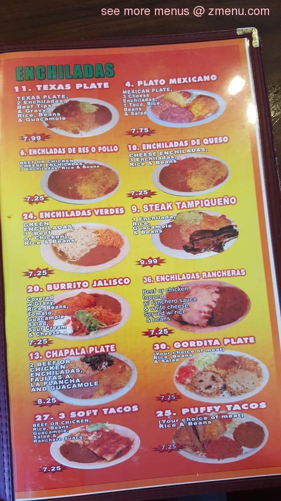 Online Menu Of Taqueria Chapala Jalisco Restaurant San
