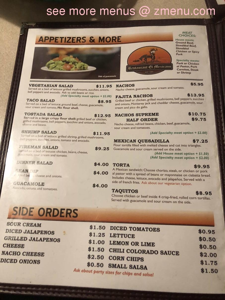 Online Menu Of Restaurant El Mexicano Restaurant Willits California 95490 Zmenu