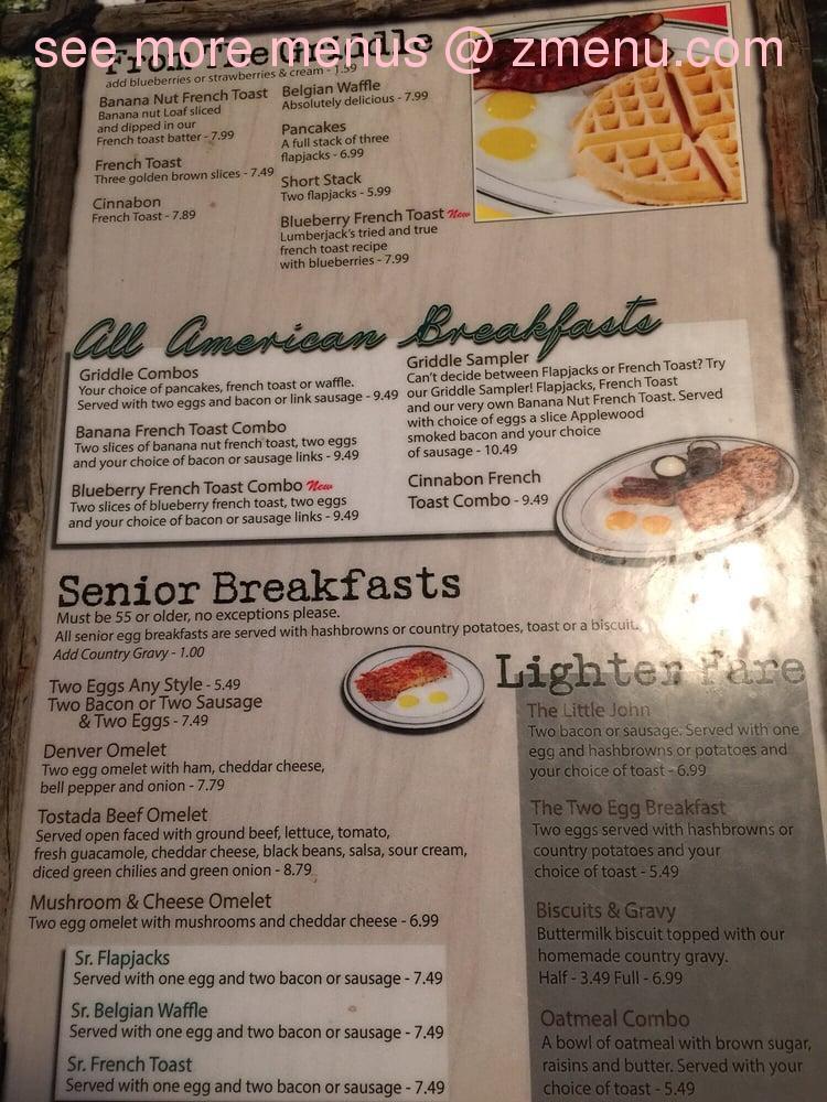 Online menu of lumberjack 39 s restaurant restaurant willits for 456 fish menu