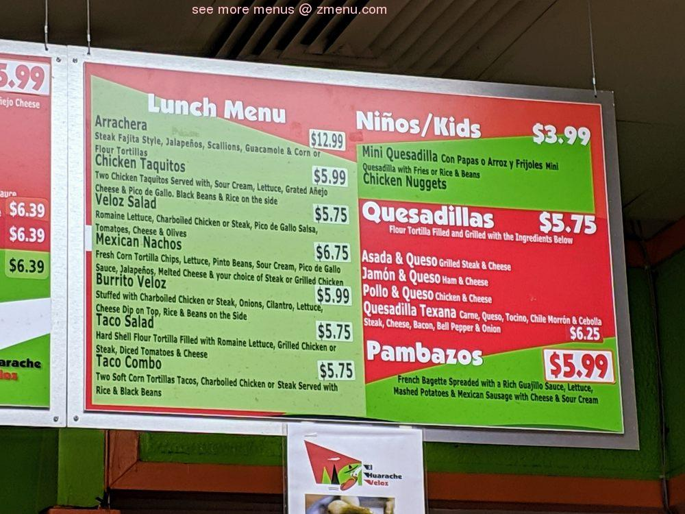Online Menu of El Huarache Veloz Mexican Taqueria Restaurant ...