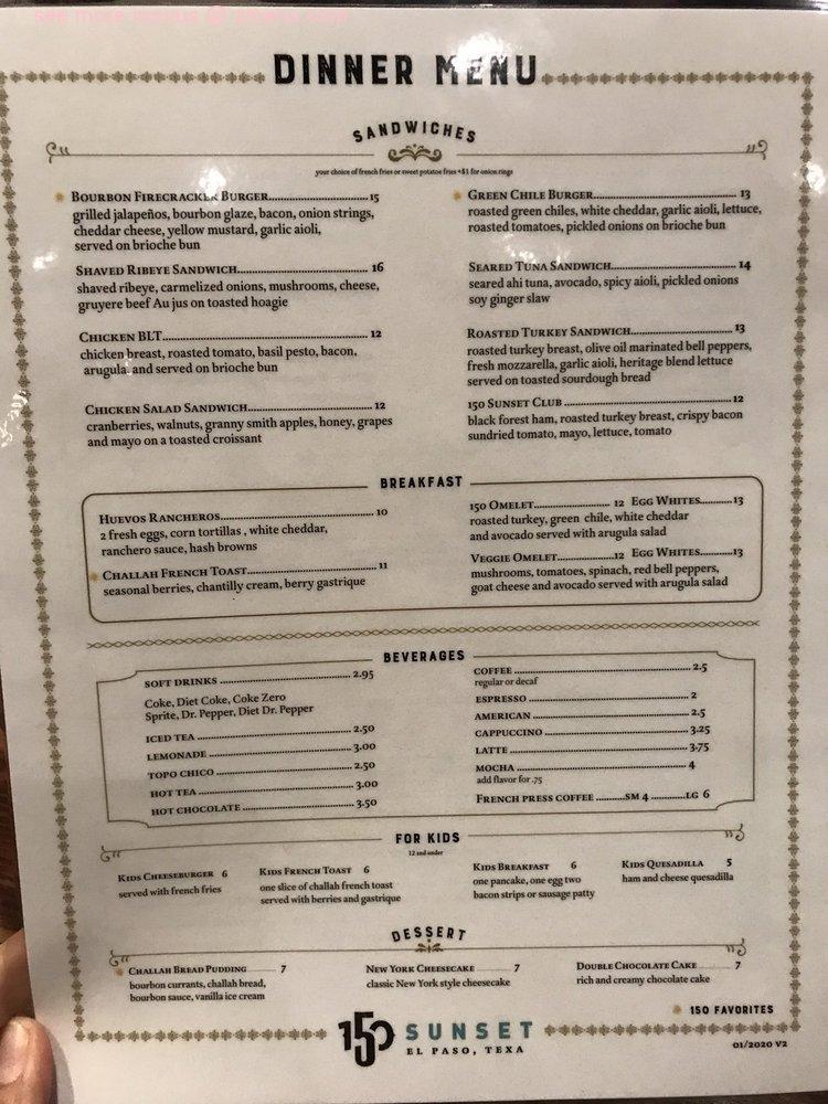 Online Menu Of The Kitchen At 150 Sunset Restaurant El Paso Texas 79922 Zmenu