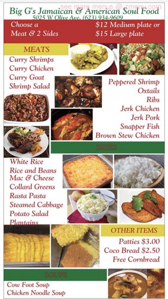 Online Menu Of Big Gs Jamaican And American Soul Food Restaurant