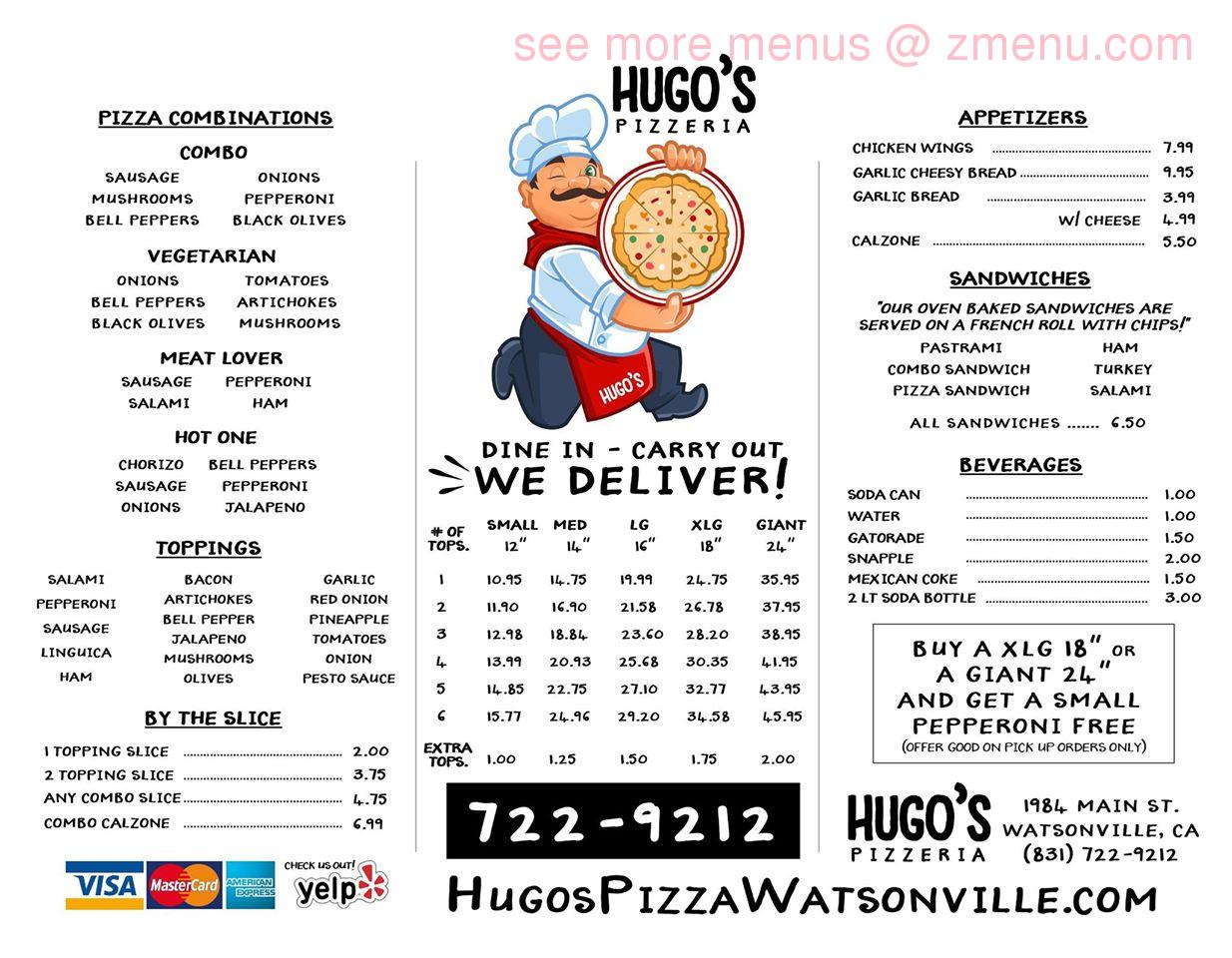 Round Table Watsonville Ca.Online Menu Of Hugos Pizzeria Restaurant Watsonville California