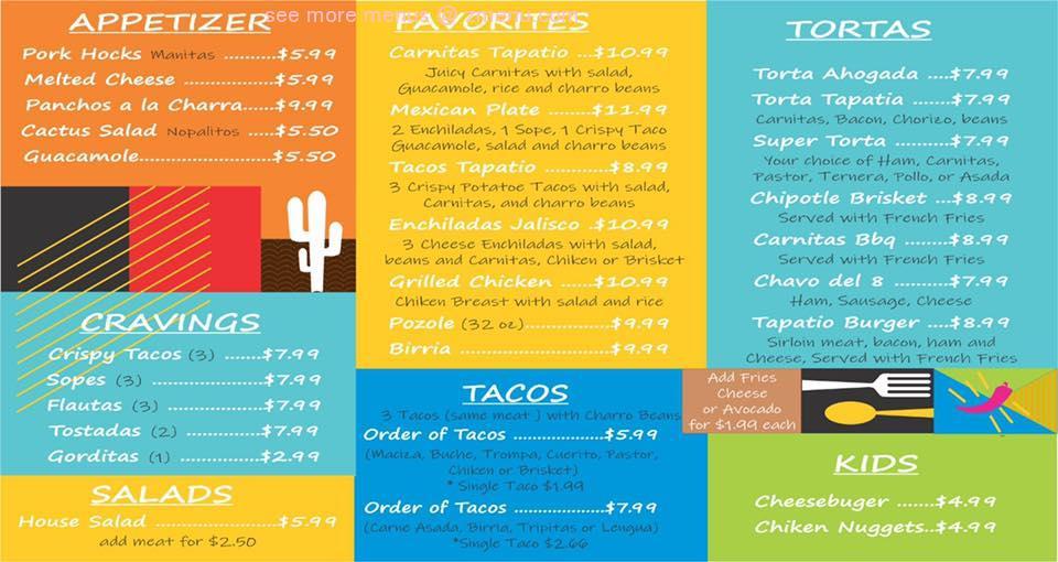 Online Menu Of Carnitas Tapatio Restaurant Laredo Texas 78045 Zmenu