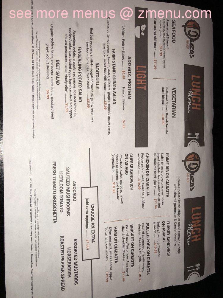Online Menu Of Duzas Kitchen Restaurant Phoenix Arizona